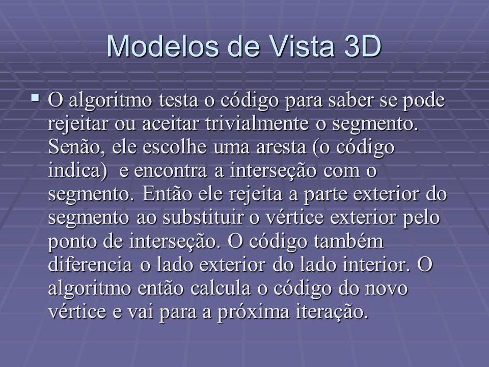 Modelos de Vista 3D  O algoritmo testa o código para saber se pode rejeitar ou aceitar trivialmente o segmento. Senão, ele escolhe uma aresta (o códi