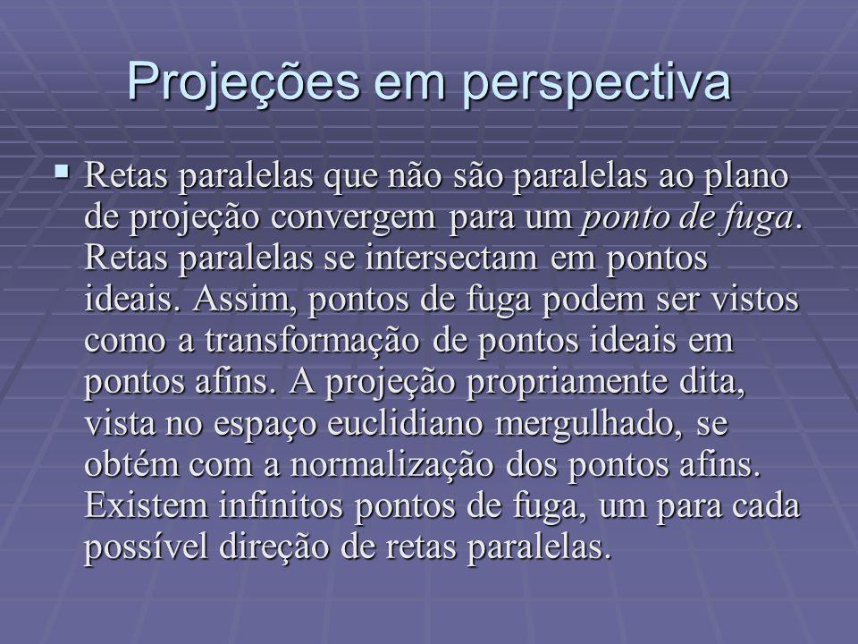 Projeções em perspectiva  Retas paralelas que não são paralelas ao plano de projeção convergem para um ponto de fuga. Retas paralelas se intersectam