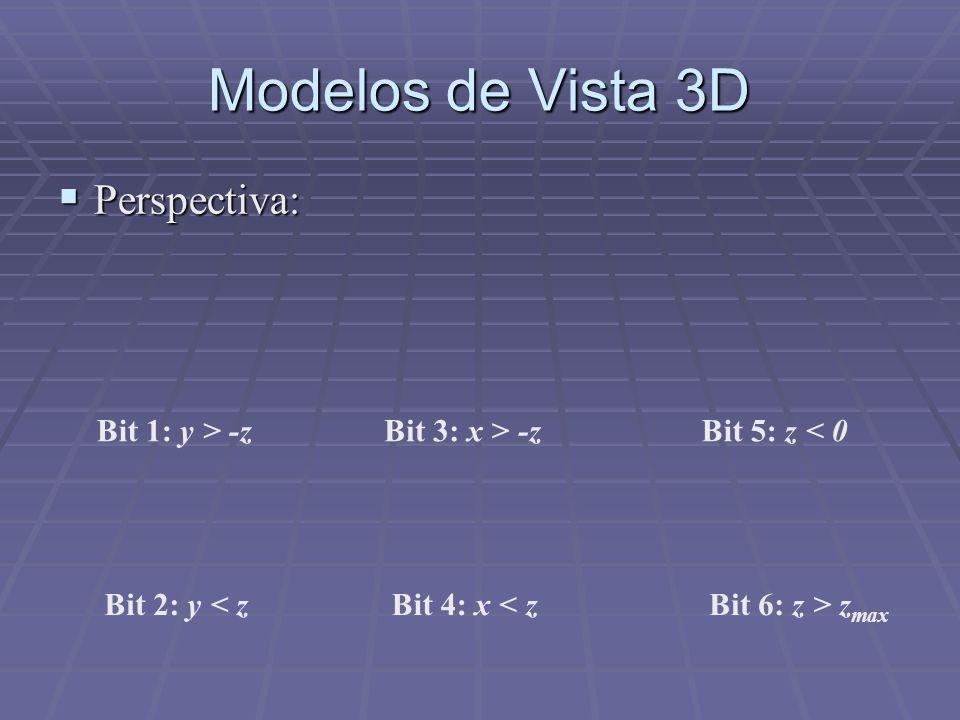 Modelos de Vista 3D  Perspectiva: Bit 1: y > -z Bit 2: y < z Bit 3: x > -z Bit 4: x < z Bit 5: z < 0 Bit 6: z > z max