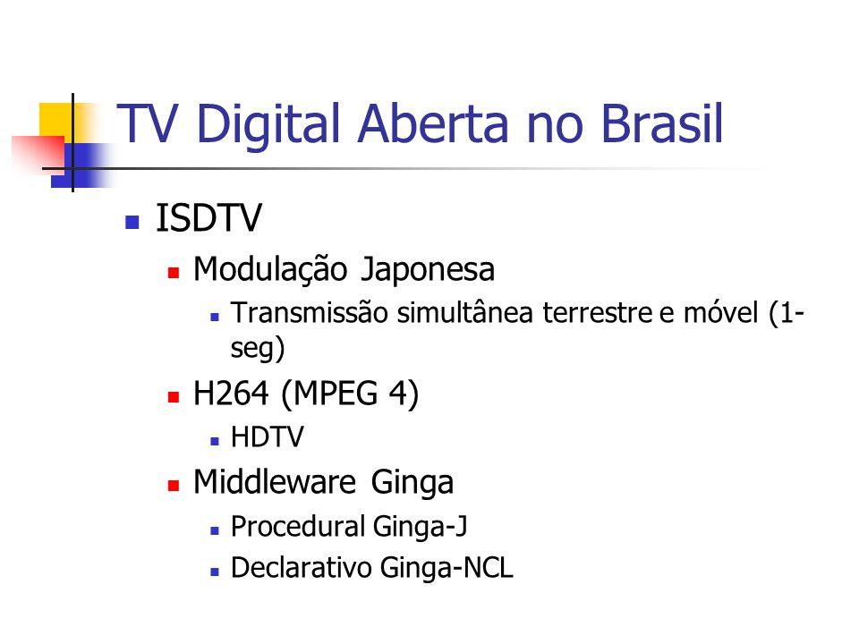 TV Digital Aberta no Brasil ISDTV Modulação Japonesa Transmissão simultânea terrestre e móvel (1- seg) H264 (MPEG 4) HDTV Middleware Ginga Procedural