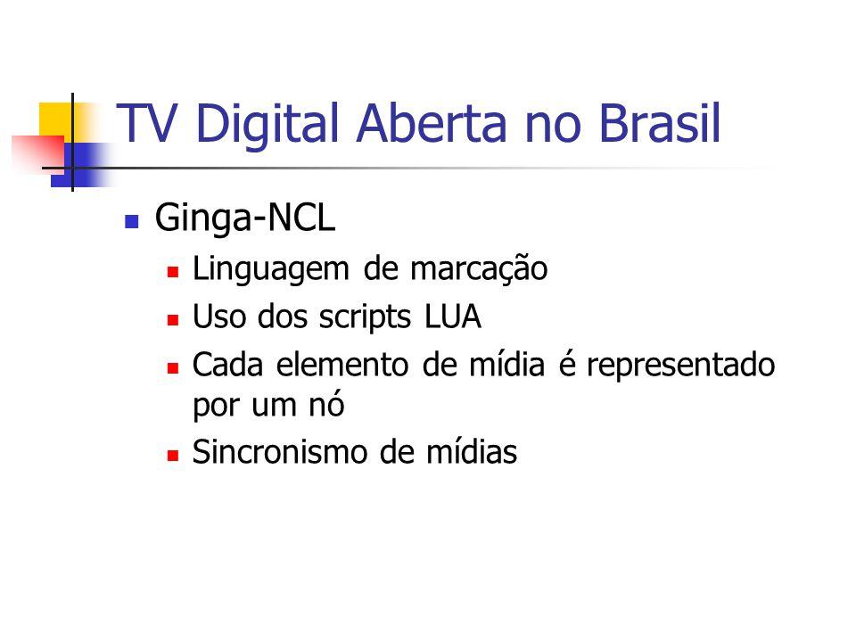 TV Digital Aberta no Brasil Ginga-NCL Linguagem de marcação Uso dos scripts LUA Cada elemento de mídia é representado por um nó Sincronismo de mídias