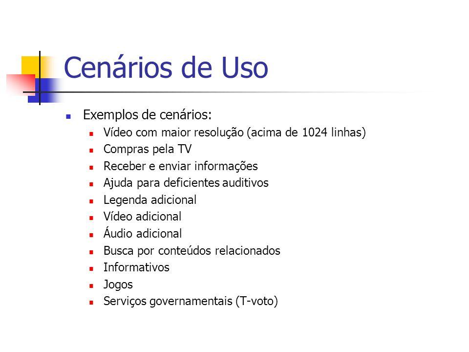 Cenários de Uso Exemplos de cenários: Vídeo com maior resolução (acima de 1024 linhas) Compras pela TV Receber e enviar informações Ajuda para deficie