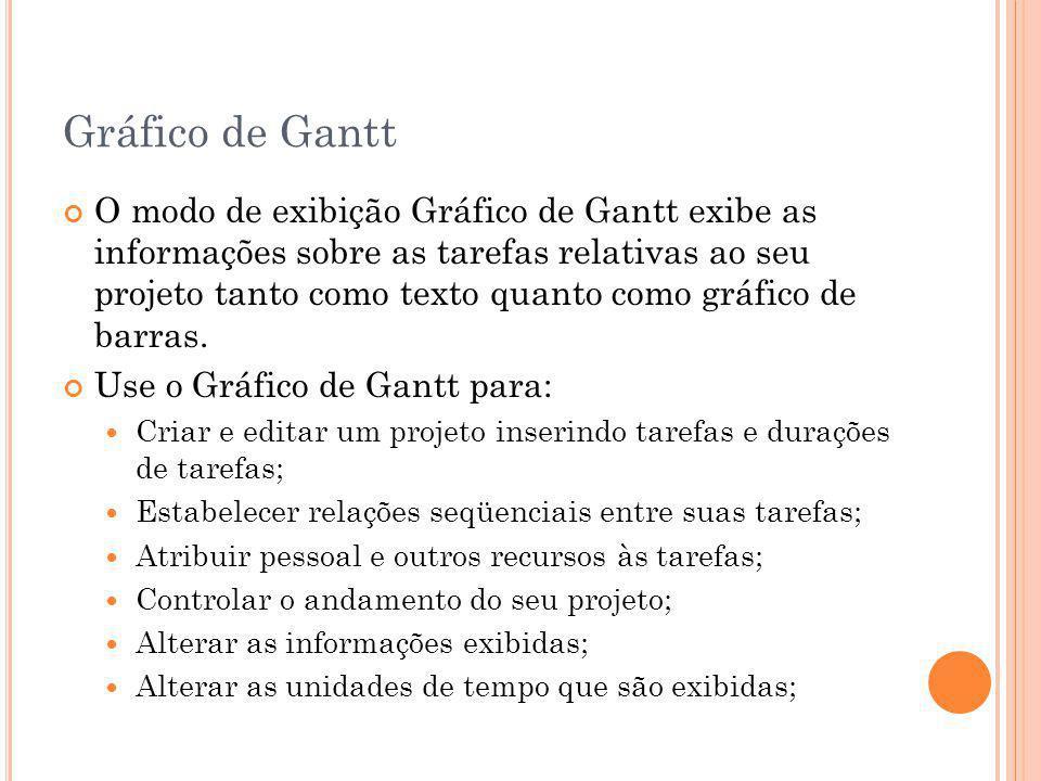 Gráfico de Gantt O modo de exibição Gráfico de Gantt exibe as informações sobre as tarefas relativas ao seu projeto tanto como texto quanto como gráfi