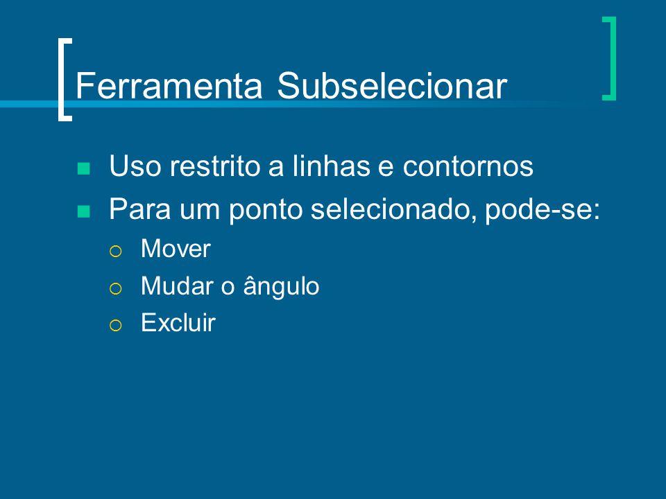 Ferramenta Subselecionar Uso restrito a linhas e contornos Para um ponto selecionado, pode-se:  Mover  Mudar o ângulo  Excluir