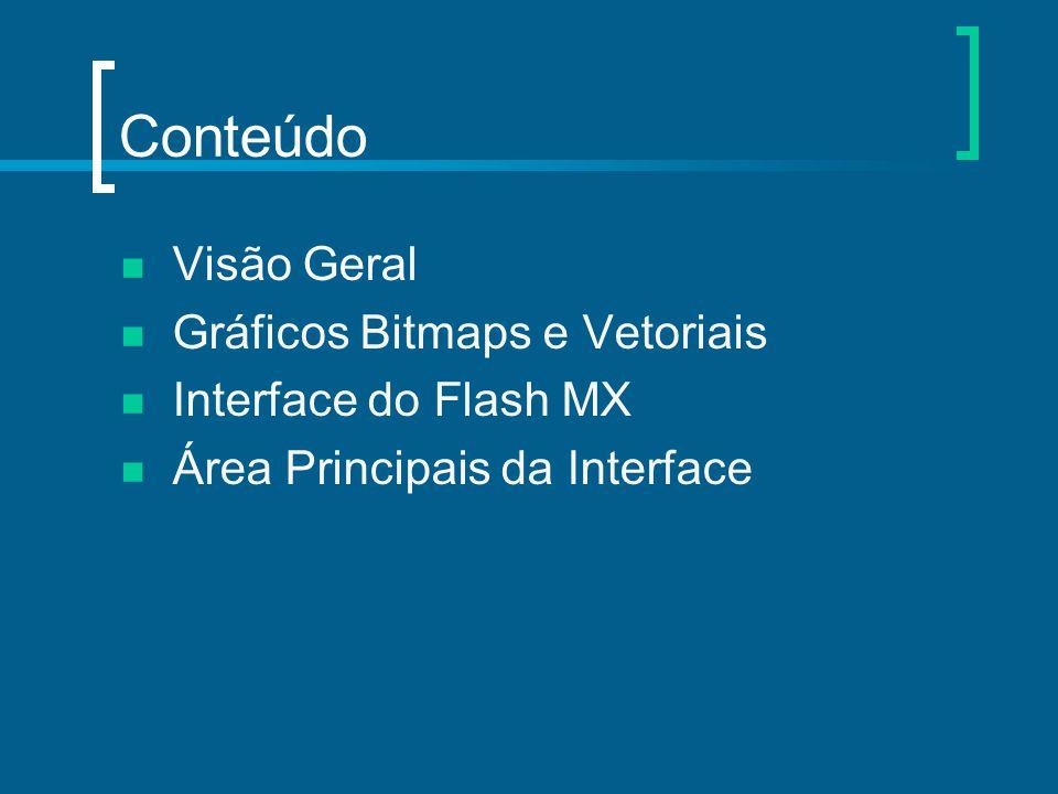 Conteúdo Visão Geral Gráficos Bitmaps e Vetoriais Interface do Flash MX Área Principais da Interface