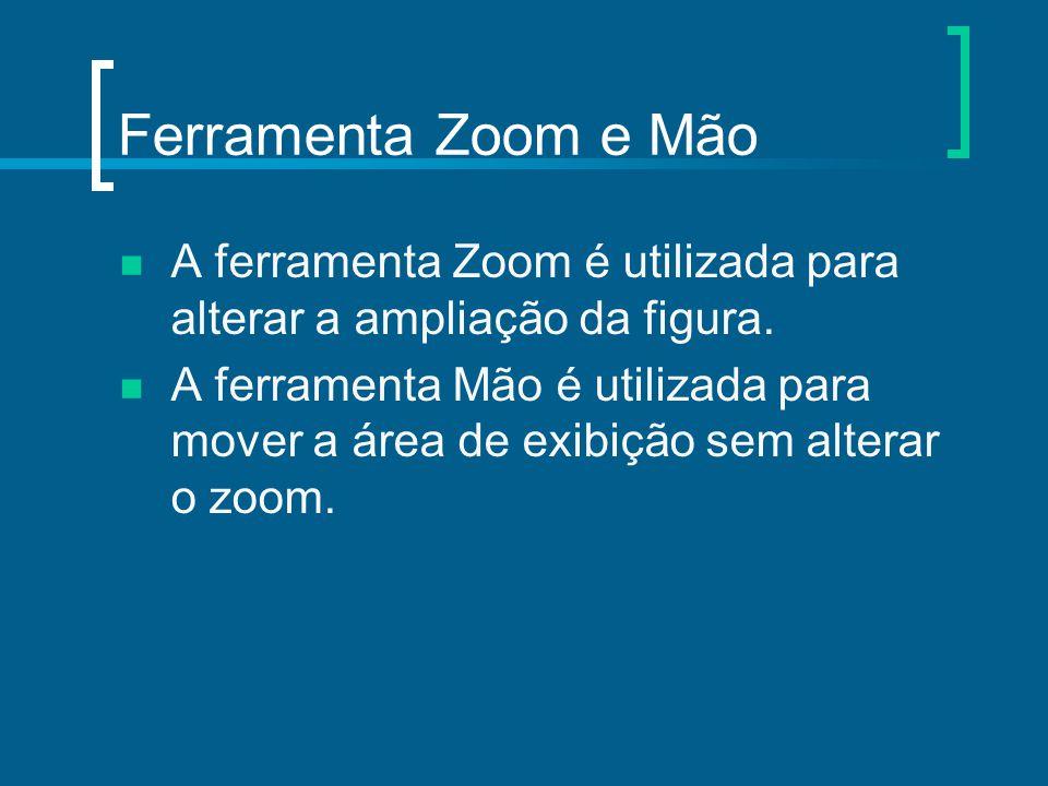 Ferramenta Zoom e Mão A ferramenta Zoom é utilizada para alterar a ampliação da figura. A ferramenta Mão é utilizada para mover a área de exibição sem
