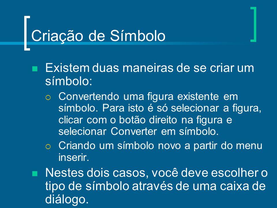 Criação de Símbolo Existem duas maneiras de se criar um símbolo:  Convertendo uma figura existente em símbolo. Para isto é só selecionar a figura, cl