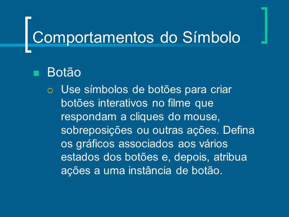 Comportamentos do Símbolo Botão  Use símbolos de botões para criar botões interativos no filme que respondam a cliques do mouse, sobreposições ou out