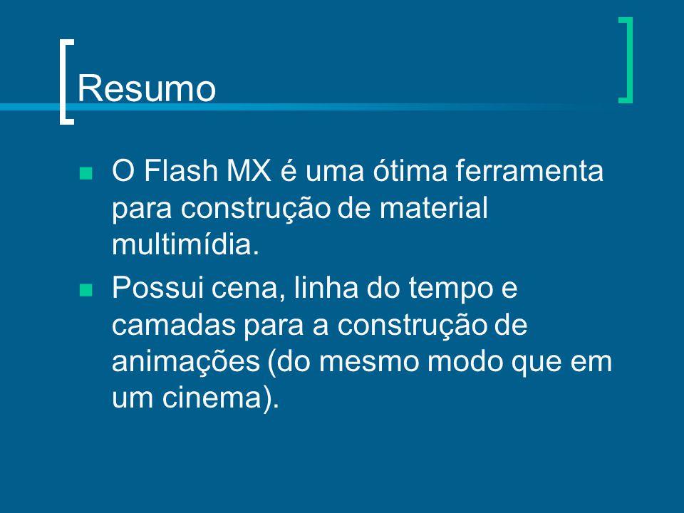 Resumo O Flash MX é uma ótima ferramenta para construção de material multimídia. Possui cena, linha do tempo e camadas para a construção de animações