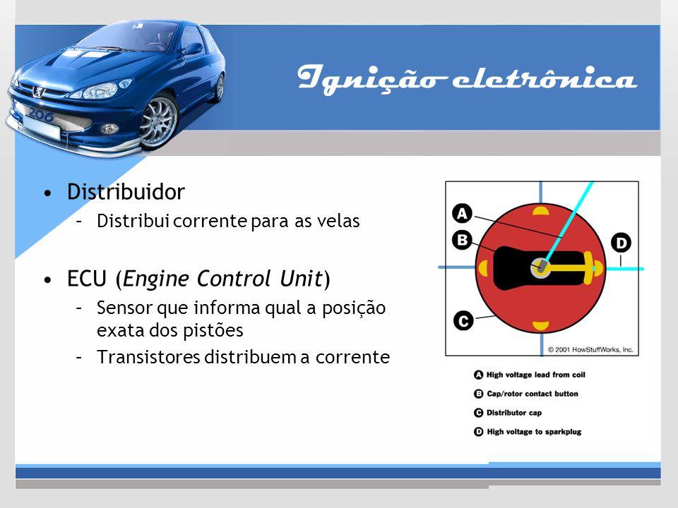 Ignição eletrônica Distribuidor –Distribui corrente para as velas ECU (Engine Control Unit) –Sensor que informa qual a posição exata dos pistões –Tran