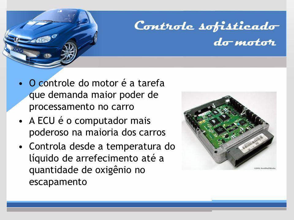 Controle sofisticado do motor O controle do motor é a tarefa que demanda maior poder de processamento no carro A ECU é o computador mais poderoso na m