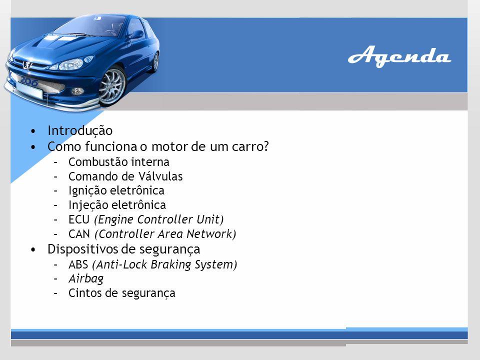 Agenda Introdução Como funciona o motor de um carro? –Combustão interna –Comando de Válvulas –Ignição eletrônica –Injeção eletrônica –ECU (Engine Cont