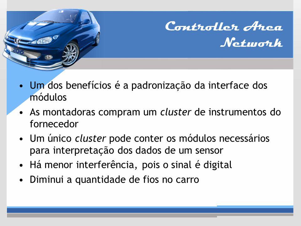 Controller Area Network Um dos benefícios é a padronização da interface dos módulos As montadoras compram um cluster de instrumentos do fornecedor Um