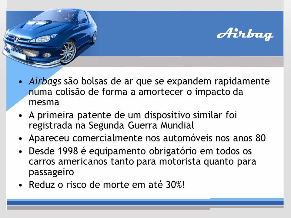 Airbag Airbags são bolsas de ar que se expandem rapidamente numa colisão de forma a amortecer o impacto da mesma A primeira patente de um dispositivo