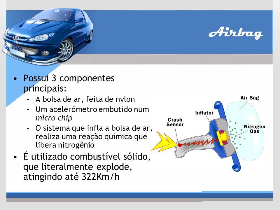 Airbag Possui 3 componentes principais: –A bolsa de ar, feita de nylon –Um acelerômetro embutido num micro chip –O sistema que infla a bolsa de ar, re