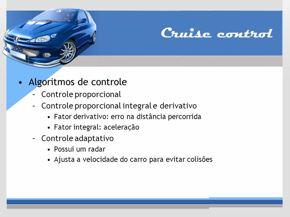 Algoritmos de controle –Controle proporcional –Controle proporcional integral e derivativo Fator derivativo: erro na distância percorrida Fator integr