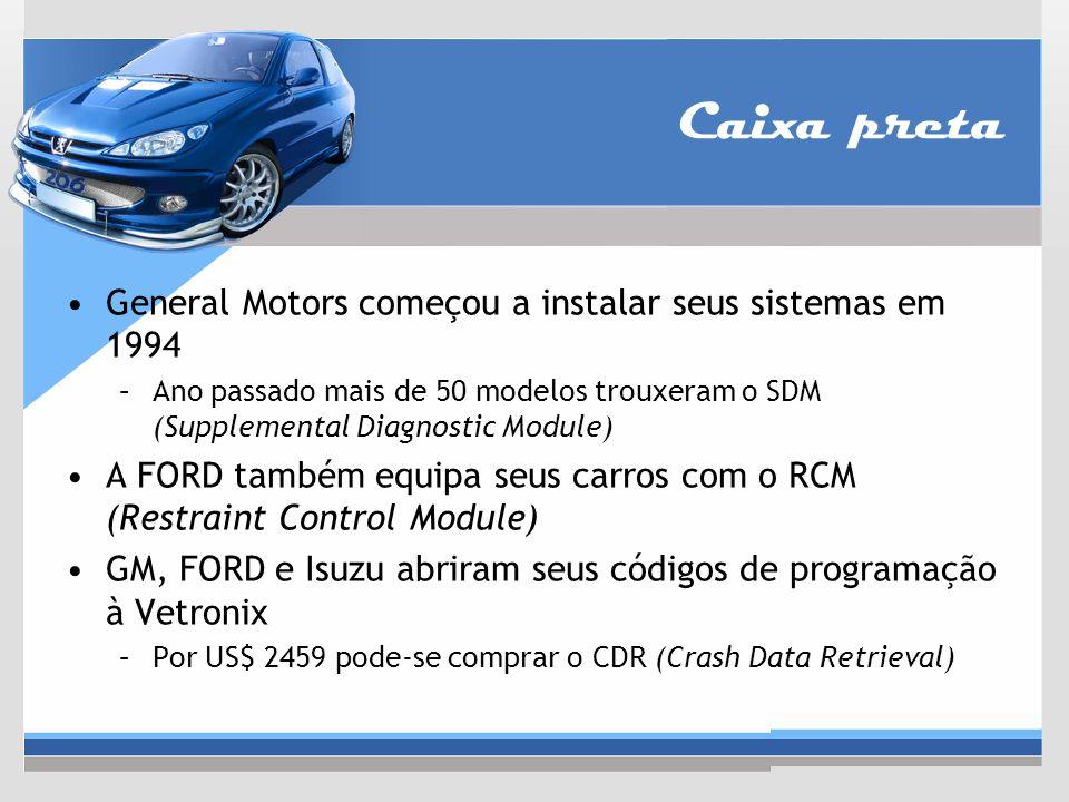 General Motors começou a instalar seus sistemas em 1994 –Ano passado mais de 50 modelos trouxeram o SDM (Supplemental Diagnostic Module) A FORD também