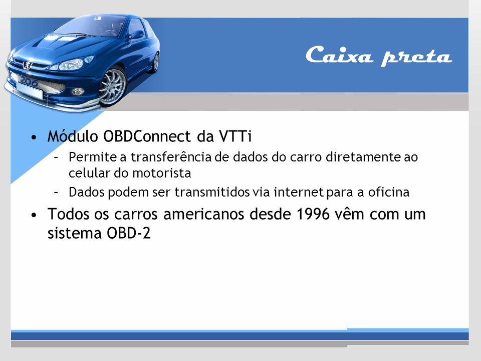 Caixa preta Módulo OBDConnect da VTTi –Permite a transferência de dados do carro diretamente ao celular do motorista –Dados podem ser transmitidos via