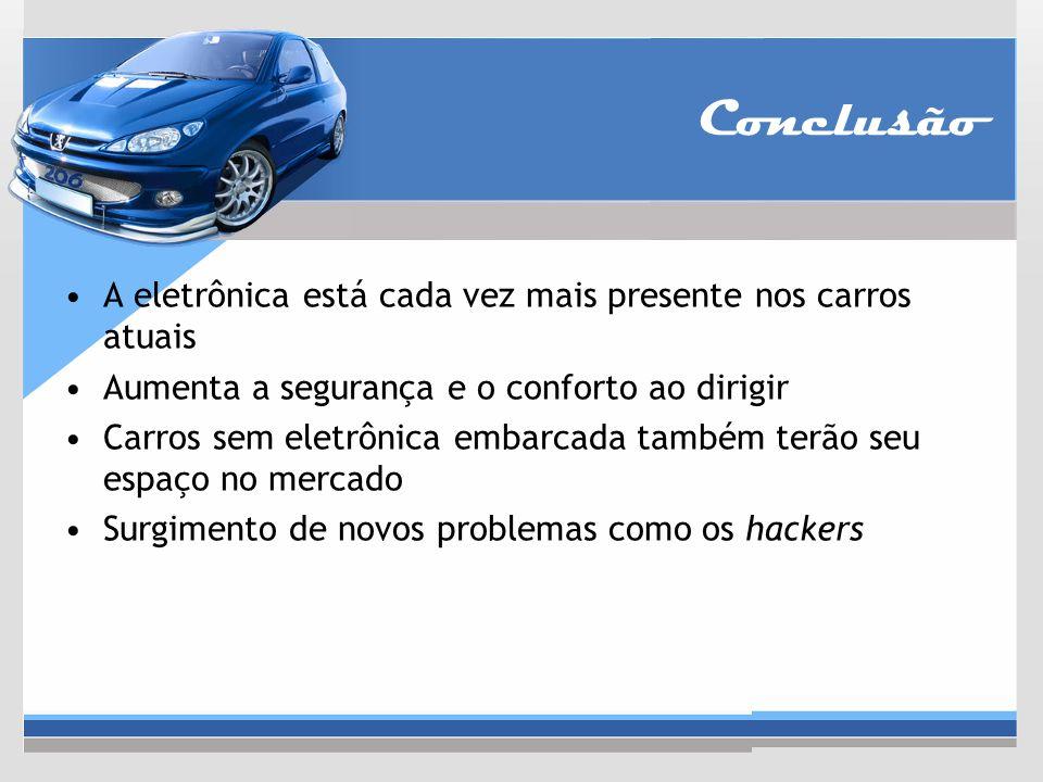 Conclusão A eletrônica está cada vez mais presente nos carros atuais Aumenta a segurança e o conforto ao dirigir Carros sem eletrônica embarcada també