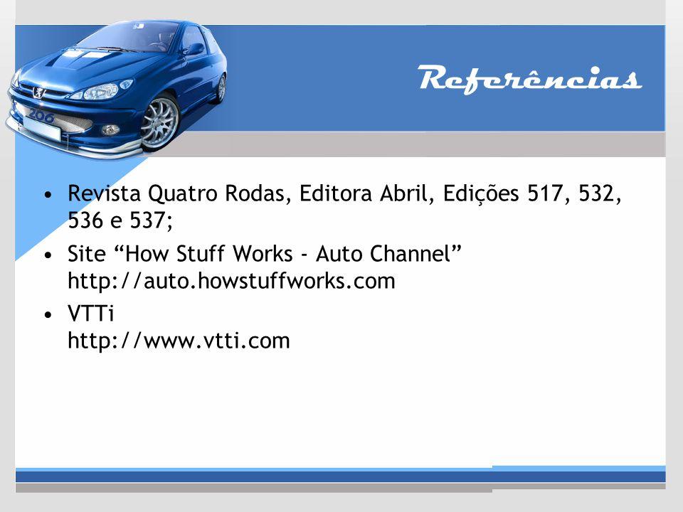 """Referências Revista Quatro Rodas, Editora Abril, Edições 517, 532, 536 e 537; Site """"How Stuff Works - Auto Channel"""" http://auto.howstuffworks.com VTTi"""