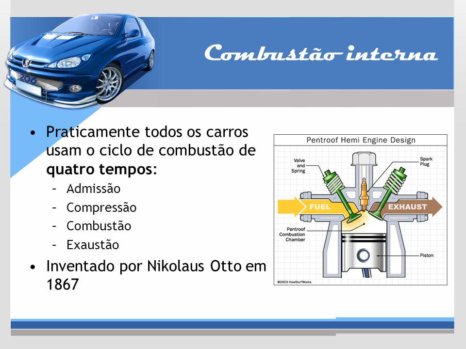 Combustão interna Praticamente todos os carros usam o ciclo de combustão de quatro tempos: –Admissão –Compressão –Combustão –Exaustão Inventado por Ni