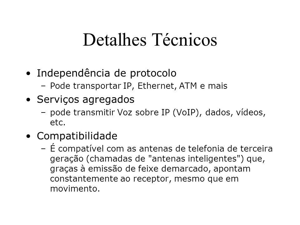 Detalhes Técnicos Independência de protocolo –Pode transportar IP, Ethernet, ATM e mais Serviços agregados –pode transmitir Voz sobre IP (VoIP), dados