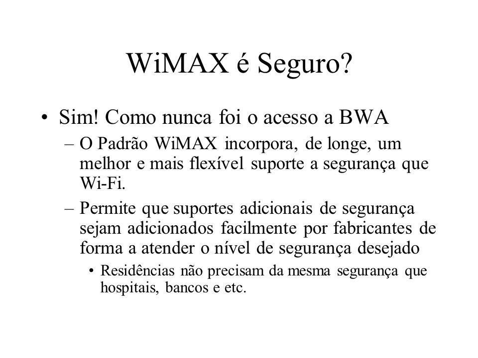 WiMAX é Seguro? Sim! Como nunca foi o acesso a BWA –O Padrão WiMAX incorpora, de longe, um melhor e mais flexível suporte a segurança que Wi-Fi. –Perm