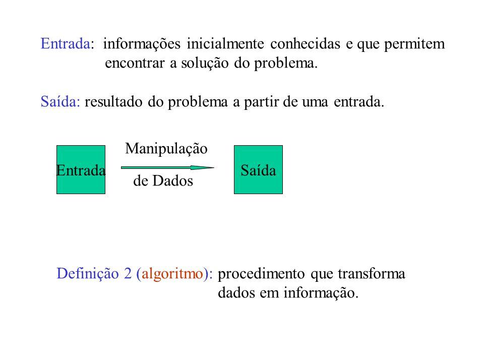 Entrada: informações inicialmente conhecidas e que permitem encontrar a solução do problema.