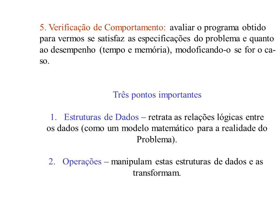 5. Verificação de Comportamento: avaliar o programa obtido para vermos se satisfaz as especificações do problema e quanto ao desempenho (tempo e memór