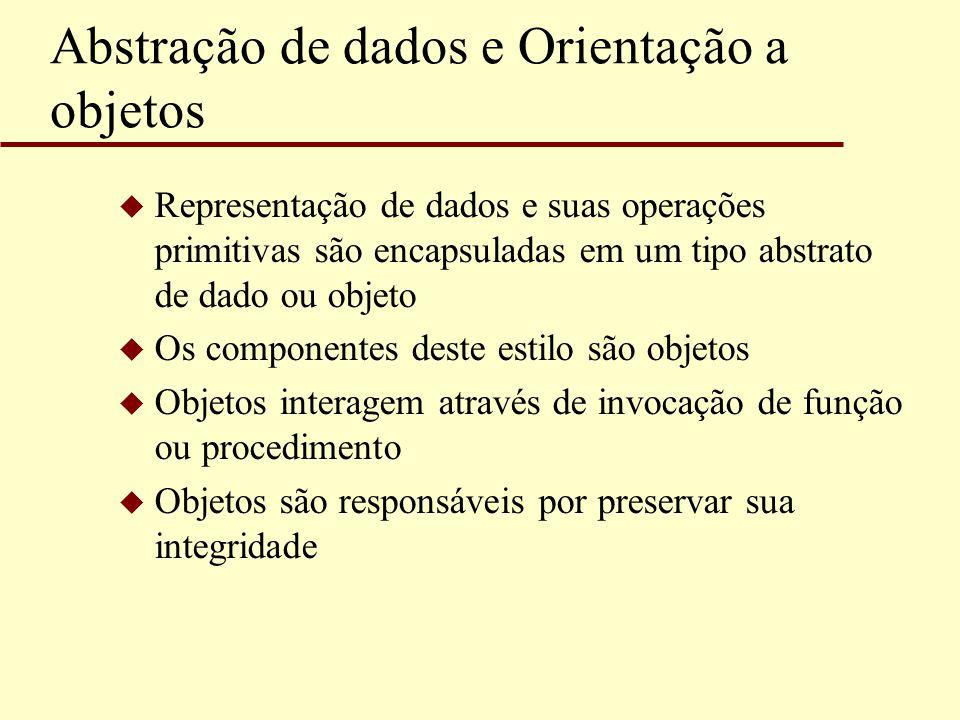 Abstração de dados e Orientação a objetos u Representação de dados e suas operações primitivas são encapsuladas em um tipo abstrato de dado ou objeto