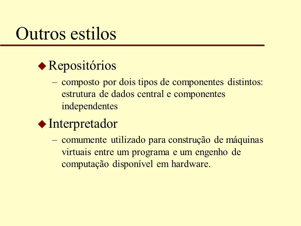 Outros estilos u Repositórios –composto por dois tipos de componentes distintos: estrutura de dados central e componentes independentes u Interpretado