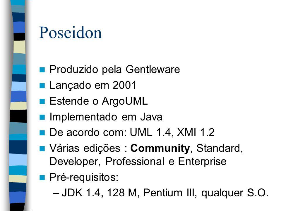 Poseidon Produzido pela Gentleware Lançado em 2001 Estende o ArgoUML Implementado em Java De acordo com: UML 1.4, XMI 1.2 Várias edições : Community, Standard, Developer, Professional e Enterprise Pré-requisitos: –JDK 1.4, 128 M, Pentium III, qualquer S.O.