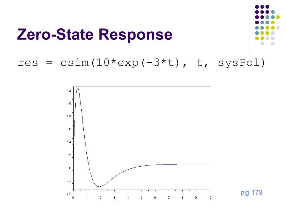 Zero-State Response res = csim(10*exp(-3*t), t, sysPol) pg 178
