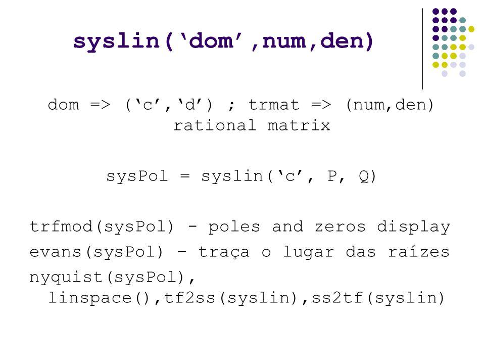 syslin('dom',num,den) dom => ('c','d') ; trmat => (num,den) rational matrix sysPol = syslin('c', P, Q) trfmod(sysPol) - poles and zeros display evans(