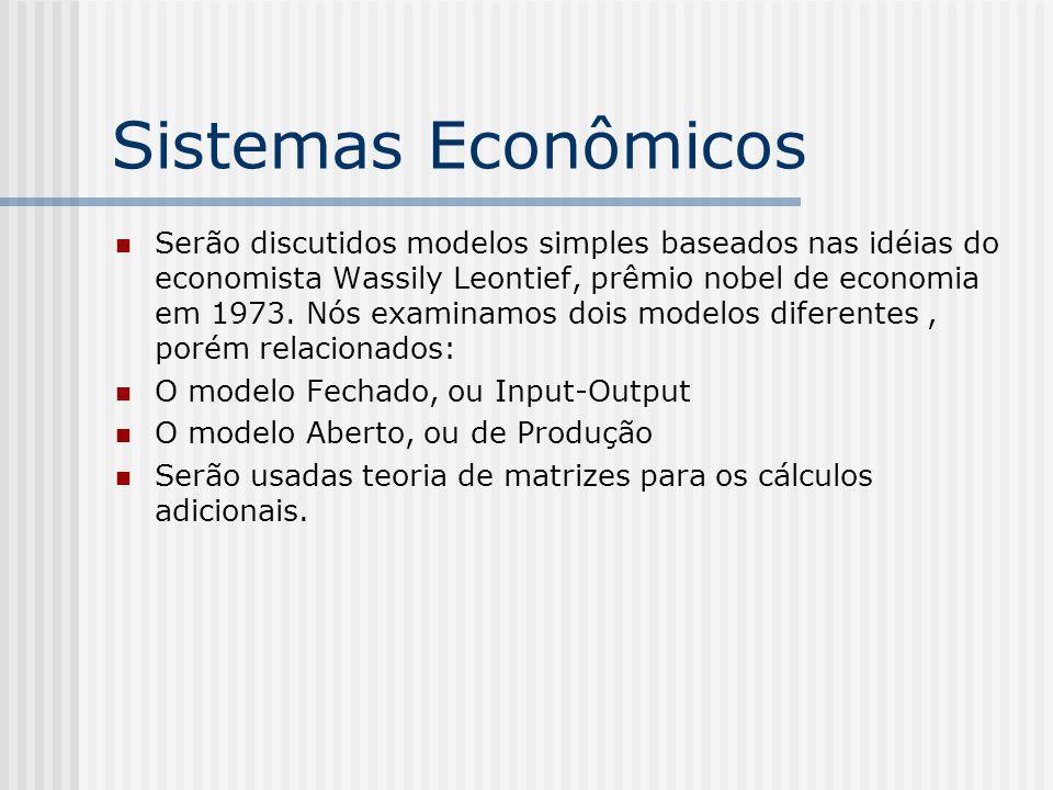Sistemas Econômicos Serão discutidos modelos simples baseados nas idéias do economista Wassily Leontief, prêmio nobel de economia em 1973. Nós examina