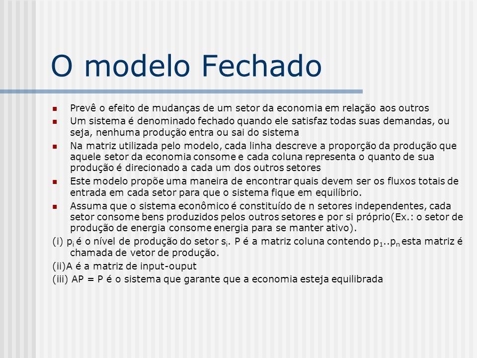 O modelo Fechado Prevê o efeito de mudanças de um setor da economia em relação aos outros Um sistema é denominado fechado quando ele satisfaz todas su