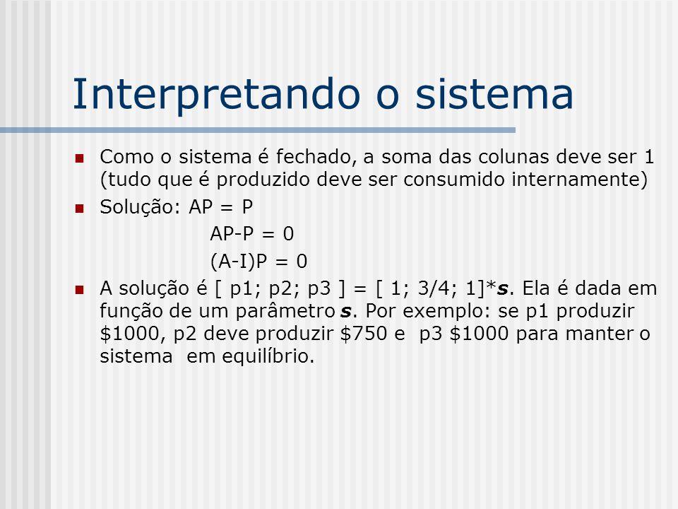 O modelo aberto O modelo fechado descreve o caso em que nenhum capital deixa o sistema, porém, muitas vezes um sistema econômico tem que satisfazer uma demanda externa, por isso recorremos ao modelo aberto Neste caso, seja b i a demanda de um i-ésimo setor externo, o sistema anterior pode ser escrito como: P = AP + B onde A e P são as mesmas matrizes do sistema fechado e B é a matriz contendo b 1, b 2,..., b n Se o sistema não tiver solução ele é dito improdutivo