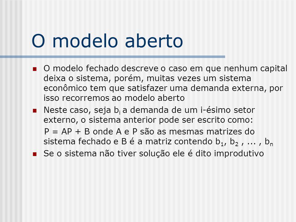 O modelo aberto O modelo fechado descreve o caso em que nenhum capital deixa o sistema, porém, muitas vezes um sistema econômico tem que satisfazer um