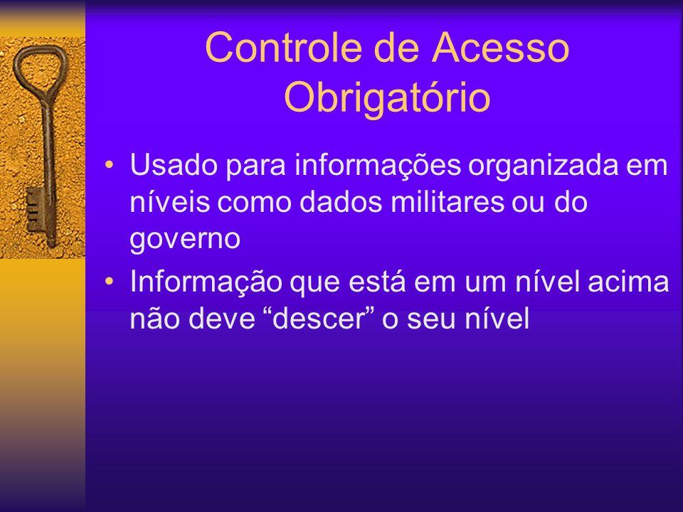Controle de Acesso Obrigatório Usado para informações organizada em níveis como dados militares ou do governo Informação que está em um nível acima não deve descer o seu nível