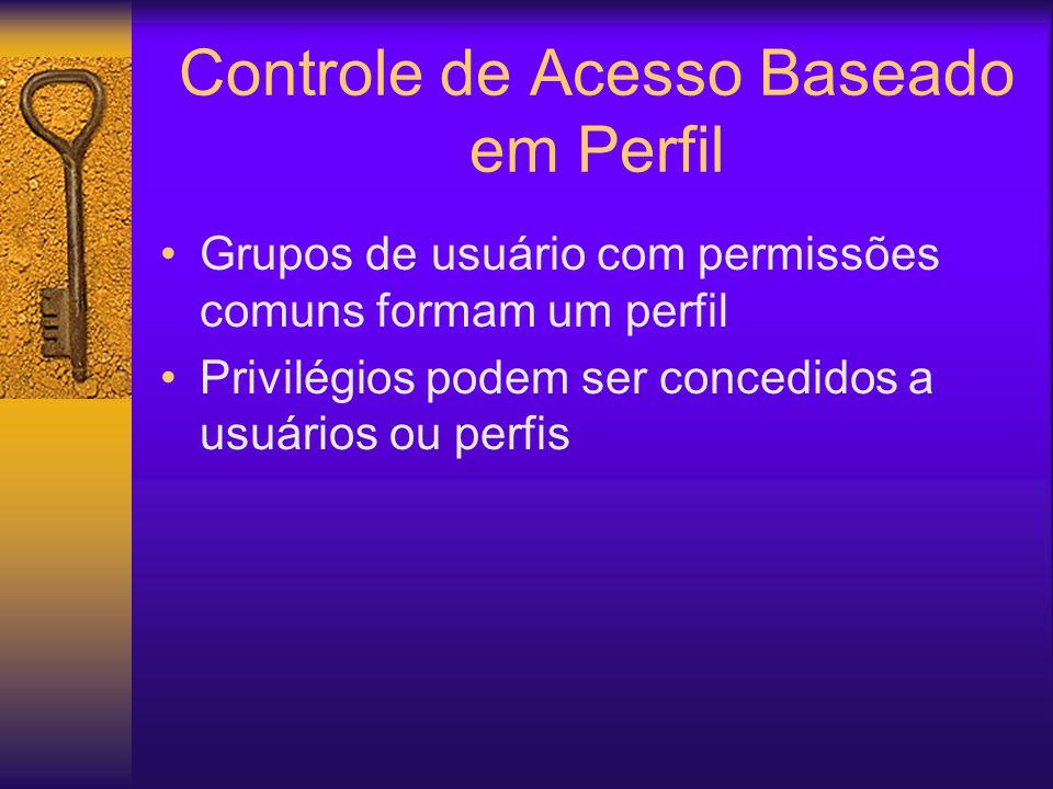Controle de Acesso Baseado em Perfil Grupos de usuário com permissões comuns formam um perfil Privilégios podem ser concedidos a usuários ou perfis