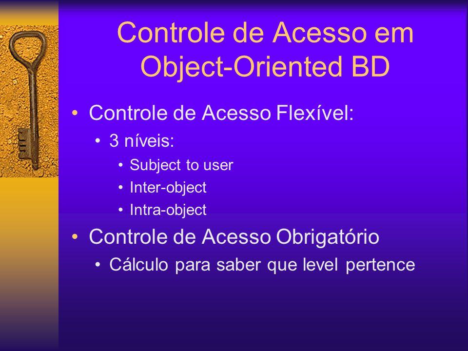Controle de Acesso em Object-Oriented BD Controle de Acesso Flexível: 3 níveis: Subject to user Inter-object Intra-object Controle de Acesso Obrigatório Cálculo para saber que level pertence
