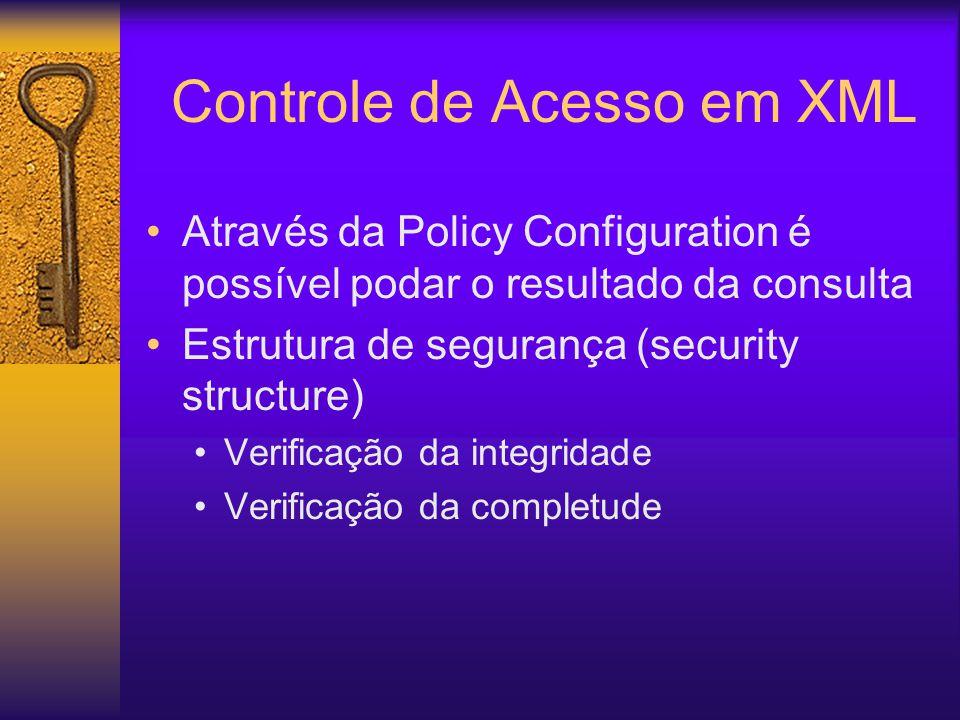 Através da Policy Configuration é possível podar o resultado da consulta Estrutura de segurança (security structure) Verificação da integridade Verificação da completude