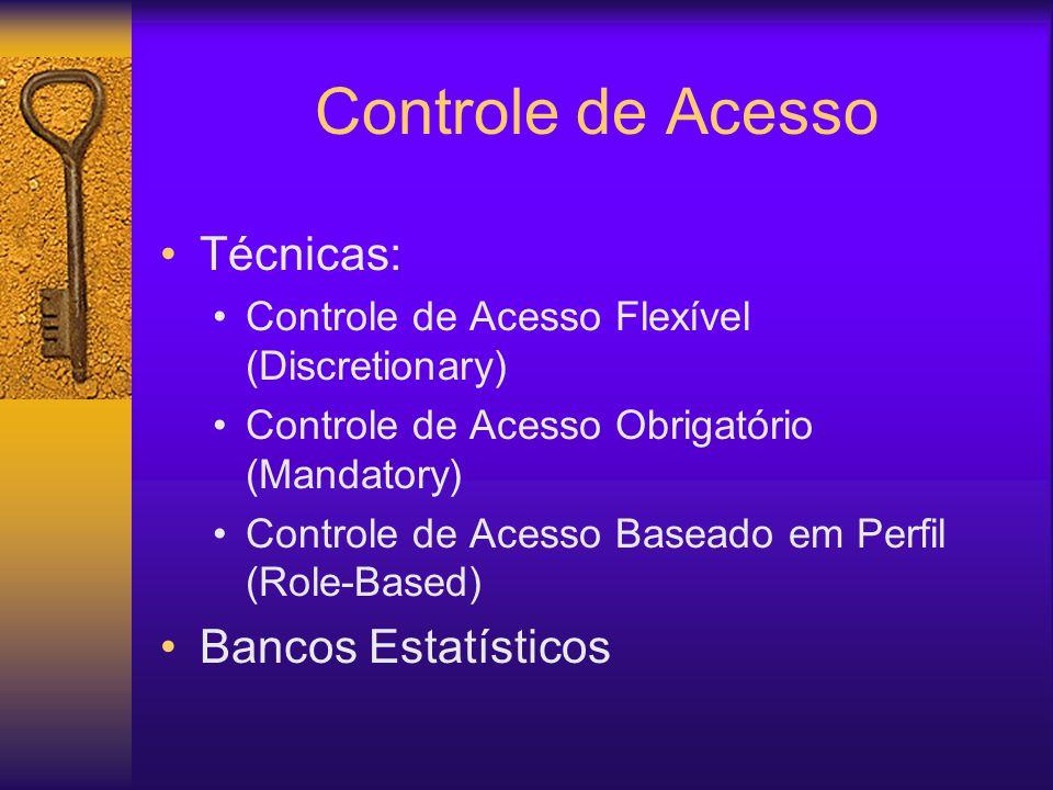 Controle de Acesso Técnicas: Controle de Acesso Flexível (Discretionary) Controle de Acesso Obrigatório (Mandatory) Controle de Acesso Baseado em Perfil (Role-Based) Bancos Estatísticos