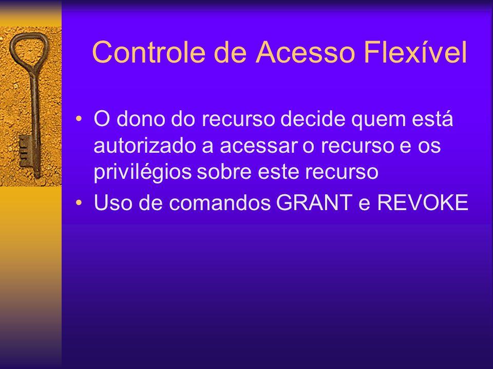 Controle de Acesso Flexível O dono do recurso decide quem está autorizado a acessar o recurso e os privilégios sobre este recurso Uso de comandos GRANT e REVOKE