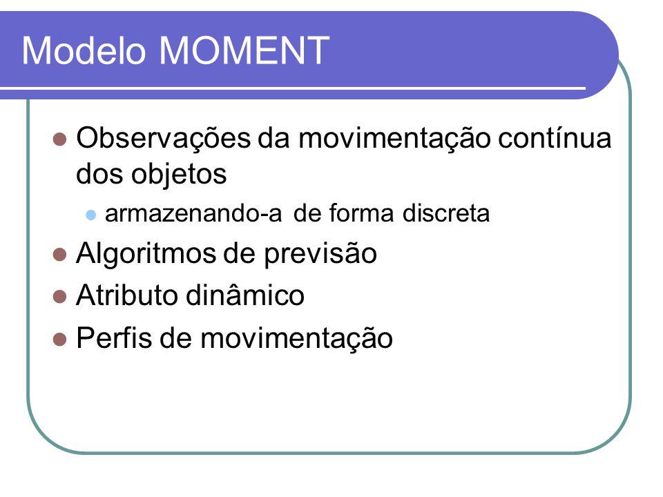 Modelo MOMENT Observações da movimentação contínua dos objetos armazenando-a de forma discreta Algoritmos de previsão Atributo dinâmico Perfis de movi