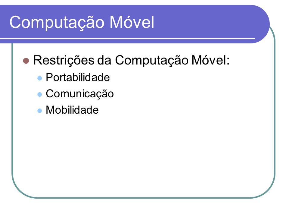 Computação Móvel - Restrições Portabilidade Os elementos móveis são relativamente pobres em recursos.
