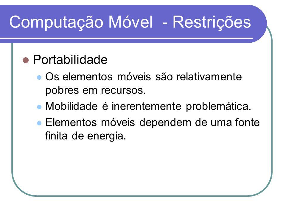 Computação Móvel - Restrições Portabilidade Os elementos móveis são relativamente pobres em recursos. Mobilidade é inerentemente problemática. Element