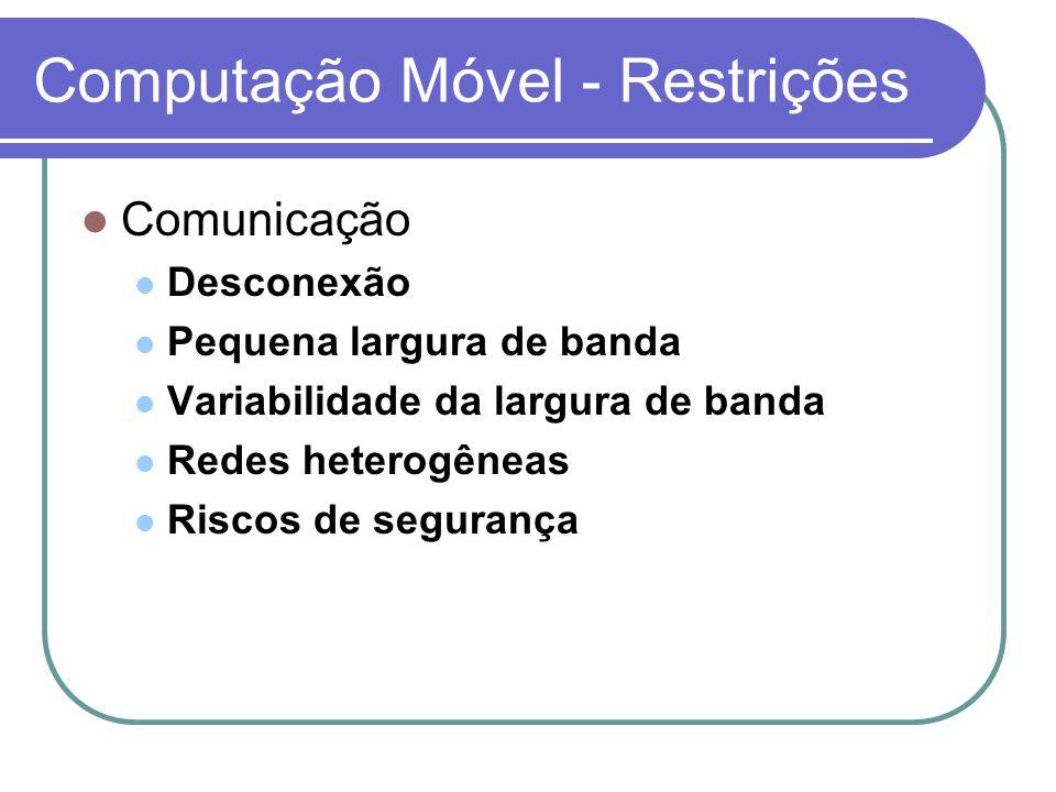 Computação Móvel - Restrições Mobilidade Mudanças de endereço Informação dependente da localização