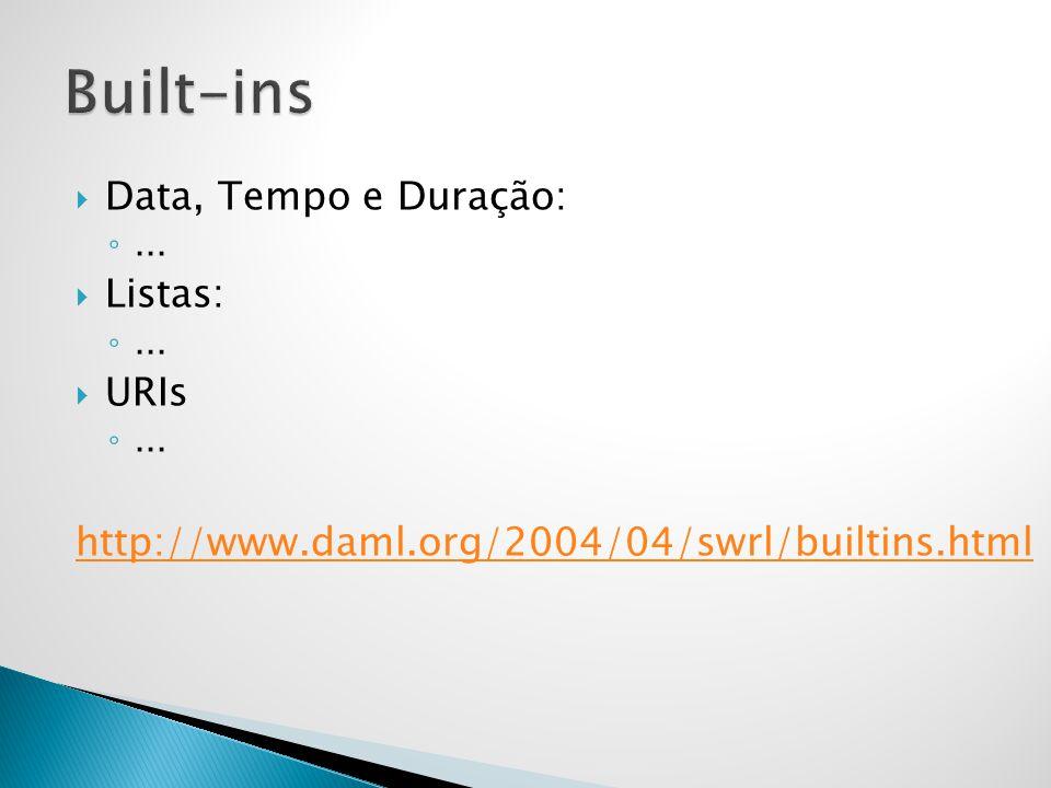  Data, Tempo e Duração: ◦...  Listas: ◦...  URIs ◦... http://www.daml.org/2004/04/swrl/builtins.html