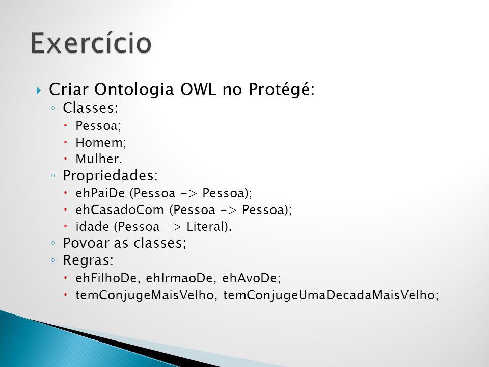  Criar Ontologia OWL no Protégé: ◦ Classes:  Pessoa;  Homem;  Mulher. ◦ Propriedades:  ehPaiDe (Pessoa -> Pessoa);  ehCasadoCom (Pessoa -> Pesso